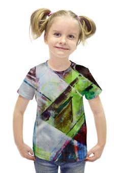 """Футболка с полной запечаткой для девочек """"Акварельная геометрия"""" - арт, рисунок, абстракция, акварель, геометрия"""