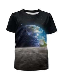 """Футболка с полной запечаткой для девочек """"Земля с луны"""" - звезда, звезды, космос, земля, луна"""