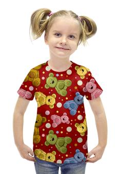 """Футболка с полной запечаткой для девочек """"Радужные мишки"""" - мишки, радужные мишки, цветные мишки"""