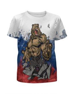 """Футболка с полной запечаткой для девочек """"Русский медведь"""" - россия, патриотизм, русский медведь"""