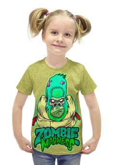 """Футболка с полной запечаткой для девочек """"Zombie Madness"""" - арт, zombie, зомби, обезьяна, горилла"""