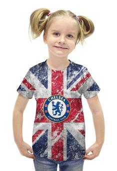"""Футболка с полной запечаткой для девочек """"Челси"""" - британский флаг, chelsea, ливерпуль, апл"""
