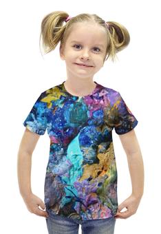 """Футболка с полной запечаткой для девочек """"""""Масляная краска"""""""" - голубой, фиолетовый, синий, искусство, художник"""