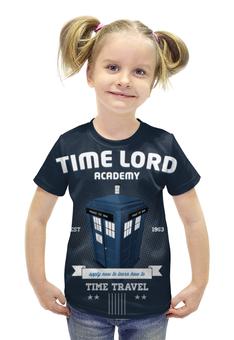 """Футболка с полной запечаткой для девочек """"Повелитель времени"""" - академия, доктор кто, тардис, галлифрей"""