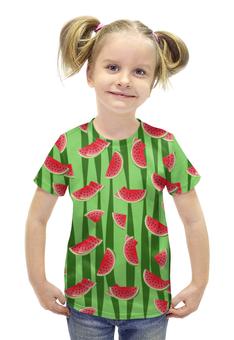 """Футболка с полной запечаткой для девочек """"Арбуз"""" - полоска, красный, зеленый, арбуз, семена"""