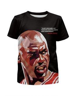 "Футболка с полной запечаткой для девочек ""Майкл Джордан NBA"" - спорт, баскетбол, легенда, nba, джордан"
