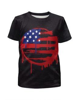 """Футболка с полной запечаткой для девочек """"American Flag (Американский флаг)"""" - америка, usa, флаг, сша, flag"""