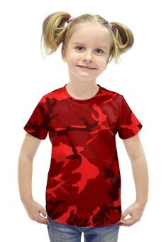 """Футболка с полной запечаткой для девочек """"Красный Камуфляж"""" - army, камуфляж, camo, красный камуфляж, red camouflage"""