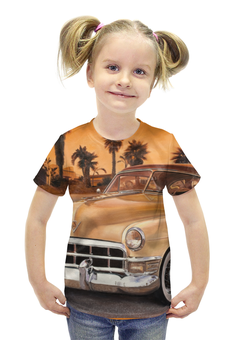 """Футболка с полной запечаткой для девочек """"Ретро авто"""" - ретро, авто, ретро автомобиль"""