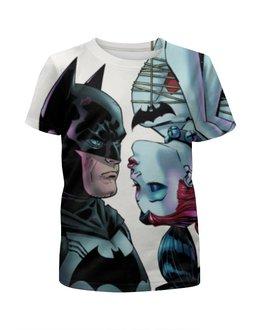 """Футболка с полной запечаткой для девочек """"Бэтмен против Харли """" - batman, бэтмен, харли квинн"""