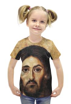 """Футболка с полной запечаткой для девочек """"Сын господа"""" - вера, религия, иисус, бог, сын божий"""
