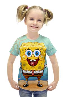 """Футболка с полной запечаткой для девочек """"Спанч Боб"""" - спанч боб, spongebob, spongebob squarepants, squarepants"""