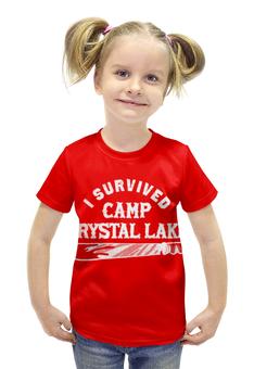 """Футболка с полной запечаткой для девочек """"Camp crystal lake"""" - кинжал"""