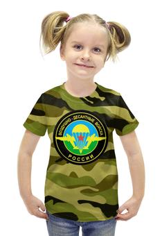 """Футболка с полной запечаткой для девочек """"Воздушно-Десантные Войска"""" - 23 февраля, армия, вдв, десант"""