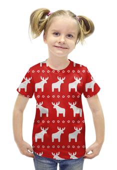 """Футболка с полной запечаткой для девочек """"новогодние олени"""" - новый год, рождество, нг, олени"""