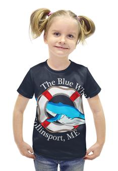 """Футболка с полной запечаткой для девочек """"The blue whale """" - рыбка, спасательный круг"""