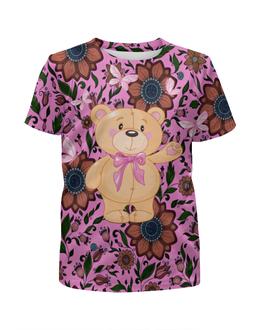 """Футболка с полной запечаткой для девочек """"Мишка и бабочки"""" - бабочки, цветы, медведь, мишка"""