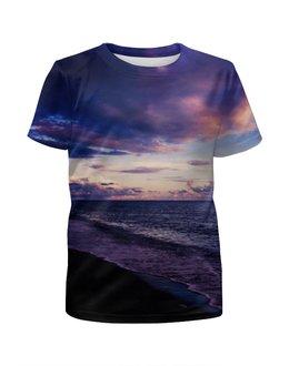 """Футболка с полной запечаткой для девочек """"Морской берег"""" - море, красота, небо, облака, закат"""