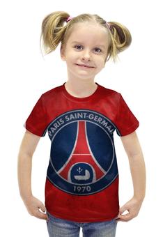"""Футболка с полной запечаткой для девочек """"Пари Сен-Жермен (ПСЖ)"""" - псж, пари сен-жермен, psg"""