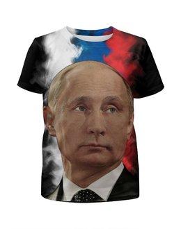 """Футболка с полной запечаткой для девочек """"Путин Патриот Страны"""" - россия, russia, путин, putin"""