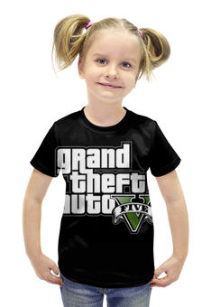 """Футболка с полной запечаткой для девочек """"Grand Theft Auto , гта , gta"""" - grand theft auto, gta, гта"""