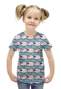 """Футболка с полной запечаткой для девочек """"Спящие овечки"""" - авторские майки, сон, животное, овечка"""