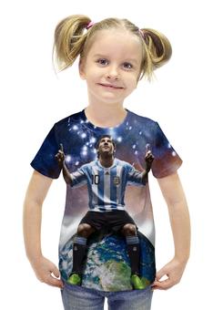 """Футболка с полной запечаткой для девочек """"Messi"""" - barcelona, месси, барселона, аргентина"""