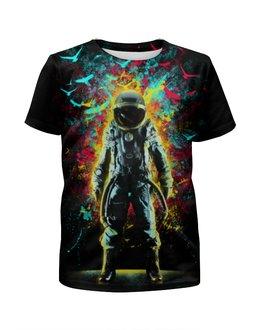 """Футболка с полной запечаткой для девочек """"Космонавт"""" - космос, абстракция, галактика, космонавт"""