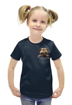 """Футболка с полной запечаткой для девочек """"Мопс в кармане"""" - животные, pug, собаки, мопс"""