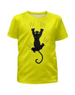 """Футболка с полной запечаткой для девочек """"Прикольный кот"""" - кот, животные, котенок, cat, прикольные коты"""