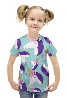 """Футболка с полной запечаткой для девочек """"Лошадь"""" - лошадь, пони, единорог, мороженое, ice cream"""