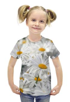 """Футболка с полной запечаткой для девочек """"Ромашки"""" - цветы, цветок, белый, ромашка, желтый"""