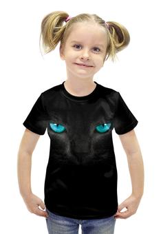 """Футболка с полной запечаткой для девочек """"Взгляд черной кошки"""" - кошка, cat, черная кошка, взгляд кошки"""