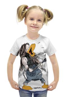 """Футболка с полной запечаткой для девочек """"Рок-утка Kotiteollisuus"""" - рок, метал, kotiteollisuus"""