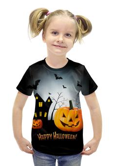 """Футболка с полной запечаткой для девочек """"Happy Halloween!"""" - тыква, хеллоуин, день всех святых, kinoart, киноарт"""