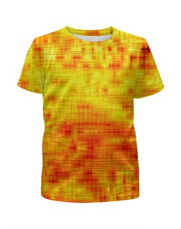 """Футболка с полной запечаткой для девочек """"Текстура"""" - желтый, полосы, линии, краски, текстура"""