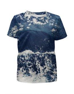 """Футболка с полной запечаткой для девочек """"Пенная волна"""" - море, волна, океан, ocean, wave"""