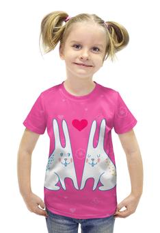 """Футболка с полной запечаткой для девочек """"Милые зайцы"""" - кролик, rabbit, зайцы, день влюбленных"""
