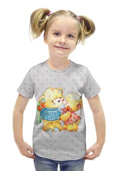 """Футболка с полной запечаткой для девочек """"Романтичные мишки. Парные футболки."""" - подарок, парные, медведи, мишки"""