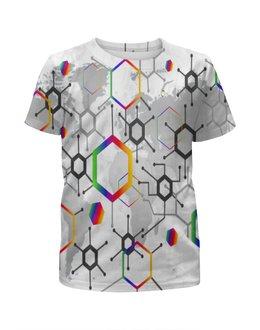 """Футболка с полной запечаткой для девочек """"Формула"""" - узор, текстура, формула, химия, молекулы"""