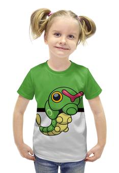 """Футболка с полной запечаткой для девочек """"Покемон Катерпи"""" - гусеница, pokemon, покемон, катерпи, caterpie"""