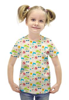 """Футболка с полной запечаткой для девочек """"Летний отдых"""" - лето, очки, дельфины, пальмы, мячики"""