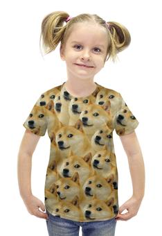 """Футболка с полной запечаткой для девочек """"Doge """" - doge, сиба-ину, доге, сиба"""
