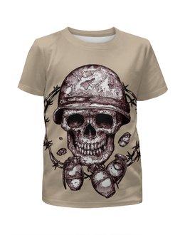 """Футболка с полной запечаткой для девочек """"Skull Art"""" - skull, череп, grenade, граната, череп в каске"""