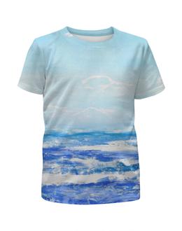 """Футболка с полной запечаткой для девочек """"У моря"""" - голубой, синий, пляж, акварель, океан"""