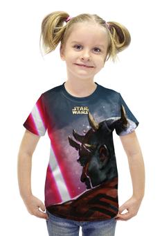 """Футболка с полной запечаткой для девочек """"star wars"""" - star wars, dark side, звездные войны, darth maul"""