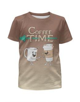 """Футболка с полной запечаткой для девочек """"Время кофе"""" - кофе, adventure time, время приключений"""