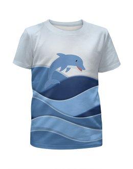 """Футболка с полной запечаткой для девочек """"Дельфин"""" - лето, море, волны, дельфин, млекопитающее"""