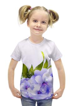 """Футболка с полной запечаткой для девочек """"Цветы"""" - цветы"""