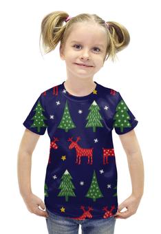 """Футболка с полной запечаткой для девочек """"Олени и ёлки"""" - новый год, елки, олени, снежинка, 2017"""